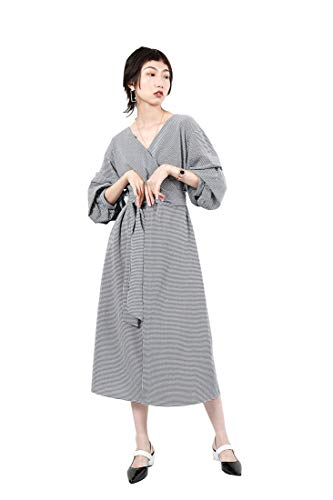 Femmes Sexy V Cou Manches Longues Automne Rtro Plaid Robes Femelle Taille Haute avec Ceinture lgant Bodycon Party A-Ligne Jupe Black