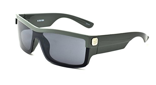 Zoo York Men's Rectangle Sunglasses, Black and Grey Frame with Grey Temple, Smoke Lens, - Eyewear Zoo York