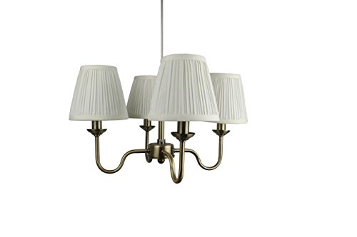 Urbanest Portable Shire 4-Light Chandelier with Eggshell Mushroom Pleated Shades, Antique Brass Finish