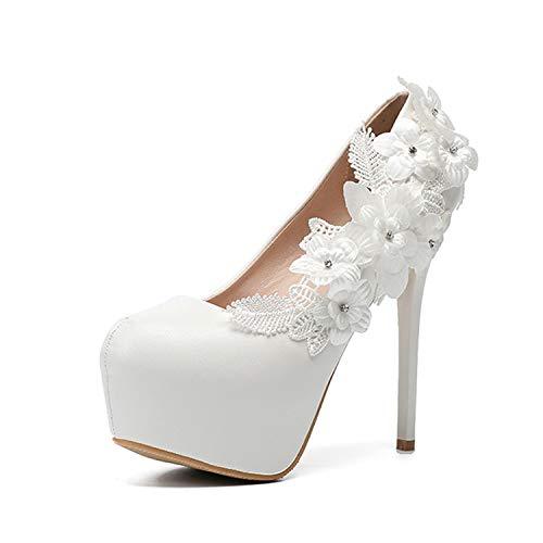 HRCxue Pumps Damenschuhe Hochzeitsschuhe weiße Spitze Brautjungfer Größe, weiß, 35