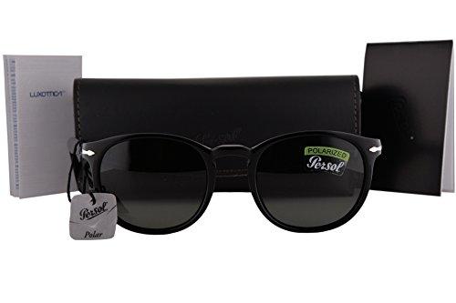 Persol PO3157S Sunglasses Black w/Polarized Green Lens 9558 PO - Persol Polarized 3019s