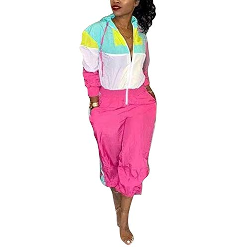 Aro Lora Women's Long Sleeve Color Block Hoodies One Piece Pant Outfit Casual Sport Jumpsuit Romper X-Large Pink