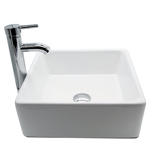 Exceptionnel Square White Ceramic Vessel Sink Bowl With Chrome Faucet And Pop Up Drain  For Bathroom