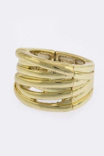 TRENDY FASHION JEWELRY STRIPED RING BY FASHION DESTINATION   (Gold)