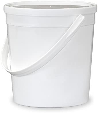 Amazon Com Gallon 32 Oz 1 Quart Food Grade Food Safe Round Plastic Bucket With Lid White Single Seal Lid 10 Pack Kitchen Dining