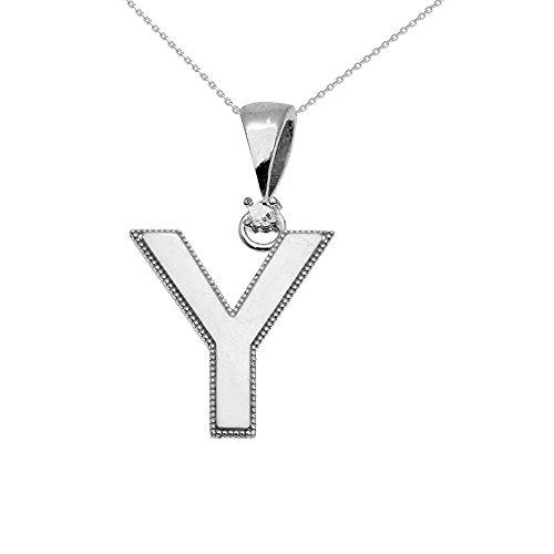 """Collier Femme Pendentif 14 Ct Or Blanc Poli Élevé Milgrain Solitaire Diamant """"Y"""" Initiale (Livré avec une 45cm Chaîne)"""