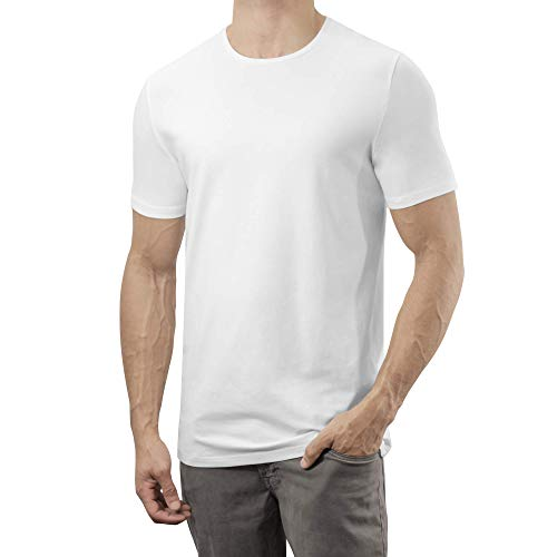 Lanky Llama Legends Crew Neck T-Shirt | Fit for Tall Slim Men (Ivory White, Large (Semi-Tall))
