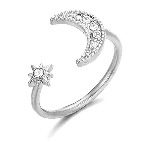 - Amoilys 2018 Fashion Jewelry Wholesale New Generic Top Gem Moon Stars Opening Ring Woman, Silver