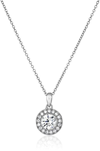 Platinum Plated Sterling Silver Halo Pendant Necklace set with Round Cut Swarovski Zirconia, 16