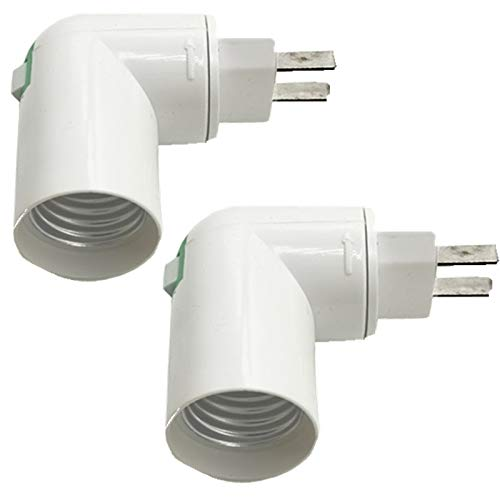 (2PACK) E26/ E27 Light Sockets,white Medium lamp holder, Plastic Standard Screw-in Socket Maximum Wattage 60W, 180 degree rotation,Polarized Ivory
