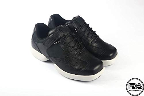 NARZIO NHI - FDA Registered Orthopedic Unisex Ultralight Footwear for Diabetes I Reduces Blood Pressure I Prevents Arthritis & Fatigue - Stylishly Designed Full Grain Leather Nubuck [Black]