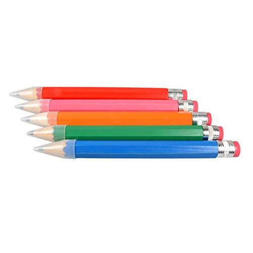 Alapaste 木製ジャンボ鉛筆 大きな色鉛筆 カスタマイズ可 アソートカラー ジャイアント木製鉛筆 消しゴム付き 子供用おもちゃ 5本パック
