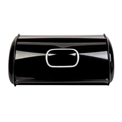 THRICH Deluxe Steel Modern Bread Box Storage with Roll up Lid, Clear Visual Window, Bright Black, 755oz (22L) by THRICH (Image #3)