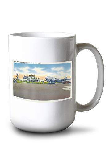 Lantern Press Philadelphia, Pennsylvania - View of The Philadelphia Airport (15oz White Ceramic ()
