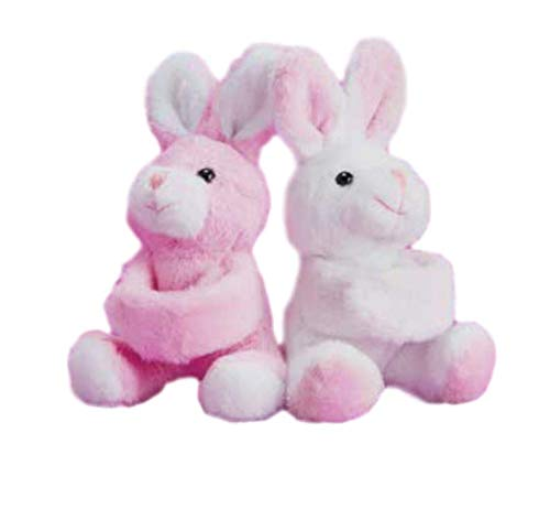 Girls Plush Bunny Wrist Wrap Hugger and Backpack Hanger Set of 2 Pink and White Two/'s Company