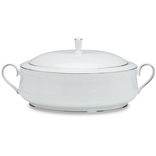Lenox Hannah Platinum Covered Vegetable Bowl (Covered Vegetable Round Bowl White)