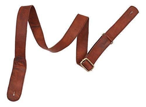 WerKens Genuine Leather Adjustable Mandolin,Ukulele Strap Belt, Soft Feel Comfortable Grip Slim Design - Brown - 1.40