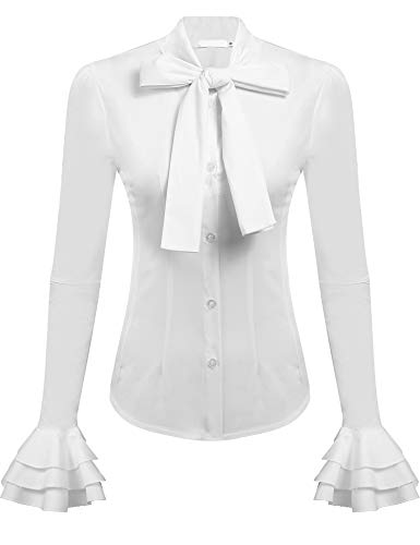 Zeagoo Women Stand-Up Collar Retro Bow Tie Shirts Blouse White L