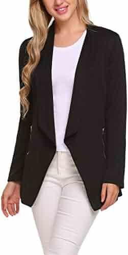 8401a3b4a0de1 ELESOL Women Casual Basic Work Office Blazer Open Front Draped Asymmetric  Cardigan Jacket