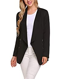 Womens Long Blazer Work Office Stretchy Open Front Lapel Jacket Solid Knit Blazers
