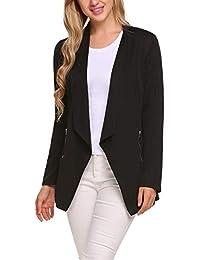 536c7c8037f Women Casual Basic Work Office Blazer Open Front Draped Asymmetric Cardigan  Jacket
