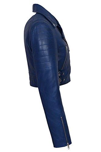 Fitted Fashion Biker Goth Short Cuir Kylie Veste Napa Bleu Ladies Missy En Soft wqXaEFFt8