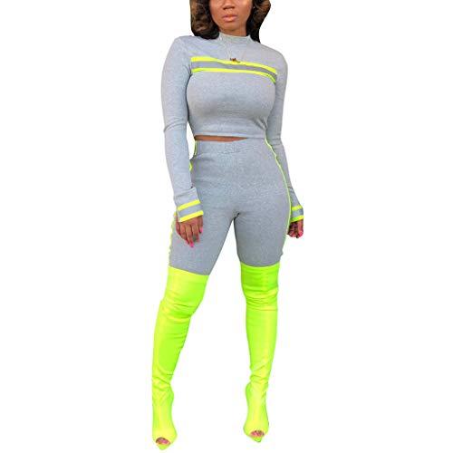 Women 2 Piece Outfits Long Sleeve Crop Top Short Pants Set Tracksuit Grey S ()