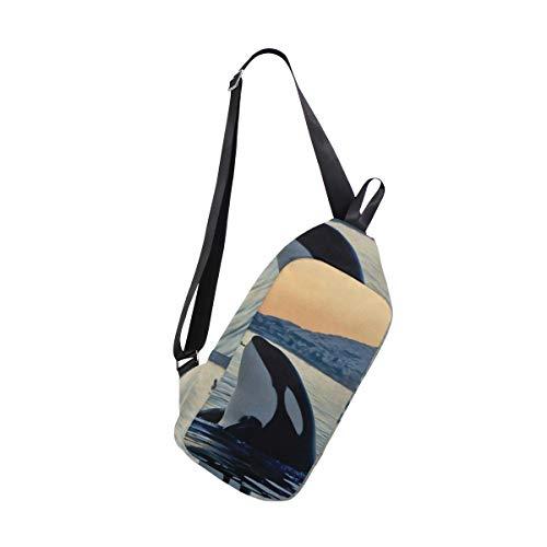 (SLHFPX Sling Bag Killer Whale Womens Chest Shoulder Backpacks Crossbody Triangle Rucksack Bag Pack)