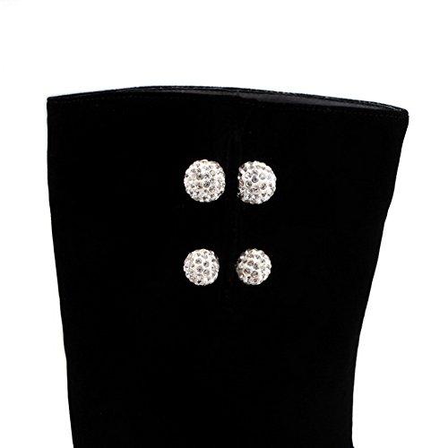 AllhqFashion Mujeres Puntera Redonda Tacón ancho Caña Media Sólido Botas con Ornamento Metal Negro