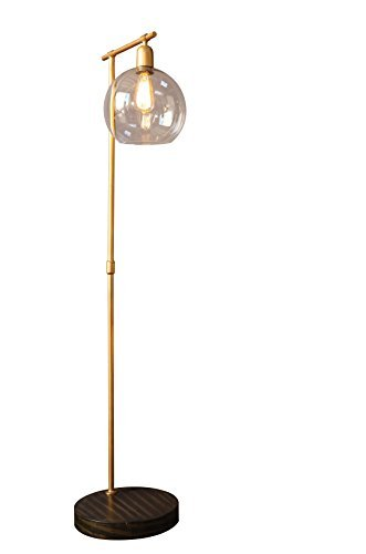 Creative Co-Op Collected Notions Gold Metal and Wood Floor Lamp by Creative Co-op
