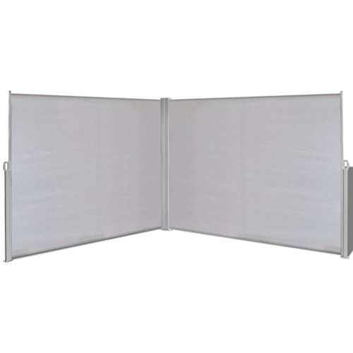 Outdoor Retractable Side Awning, Privacy Screen, Windscreen Double-Sided for Patio, Garden, Backyard (Gray,71 x236 inch) ()