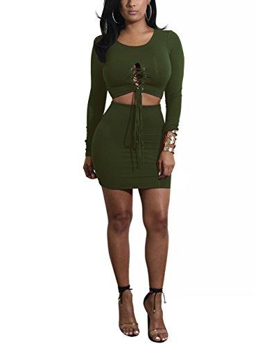 Zantec 2PCS Frauen beiläufige Kleidung stellten Rundhals Langhülse T Shirt u. Bodycon Rock Kleid Valentinstag Geschenk ein Armeegrün eMwDp9rw