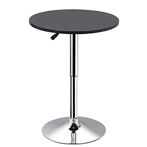 Yaheetech Round Pub Bar Table Black MDF Top with Silver Leg Base 27.4-35.8 inch Adjustable 66Lb Capacity