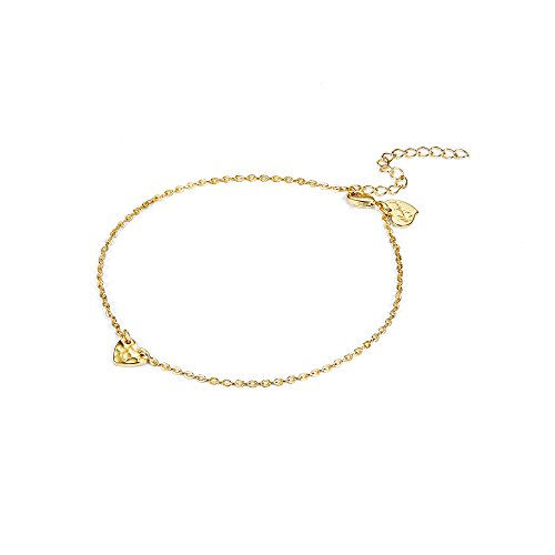Tiny Gold Heart Ankle Bracelet,14K Gold Plated Handmade Hammered Cute Charm Heart Summer Beach Girls Chain Foot Jewelry Anklets for Women ()