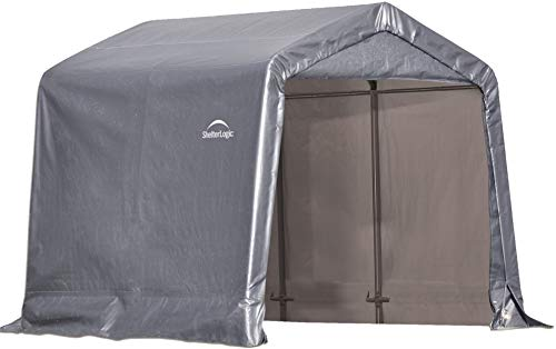 ShelterLogic 8' x 8' Shed-in-a-Box All Season Steel Metal Peak Roof Outdoor Storage Shed with Waterproof Cover and Heavy Duty Reusable Auger - Single Boxes Rail Utility