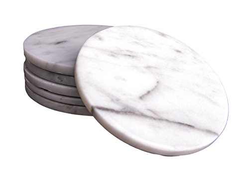 CraftsOfEgypt Set of 6 - White Marble Stone Coasters – Polished Coasters – 3.5 Inches (9 cm) in Diameter – Protection from D