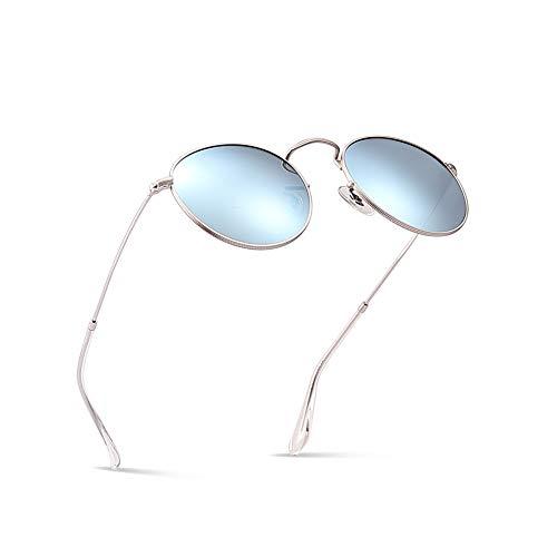 (2020Ventiventi AK17018 Fashion Matt Gold Frame/Ice Blue Revo Lens Round 48mm Polarized Stainless Steel Sunglasses)