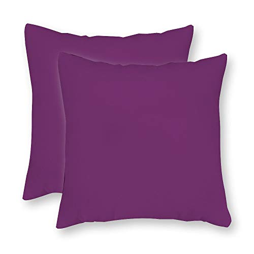 FabricMCC Pack of 2, Sunbrella Iris Linen Pillow Cover, Purple Outdoor Throw Pillow Cover, Violet Purple Throw Pillow, Decorative Plum Outdoor Throw Pillow 18 x 18 Inch
