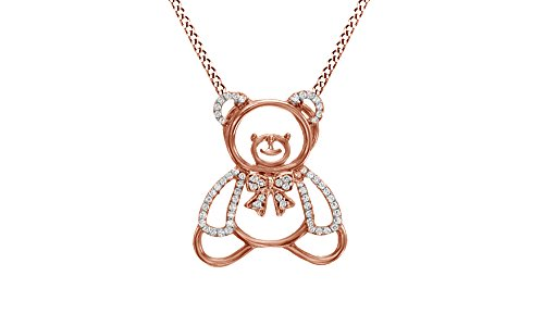 Jewel Zone US White Natural Diamond Teddy Bear Bow Pendant Necklace in 14k Rose Gold Over Sterling Silver (1/4 Ct)