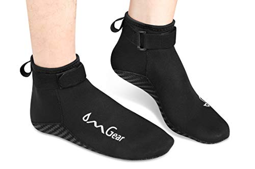 Water Socks Neoprene Socks Beach Booties Shoes 3mm Glued Blind Stitched Anti-Slip Wetsuit Boots Fin Swim Socks for Water Sports Outdoor Activities