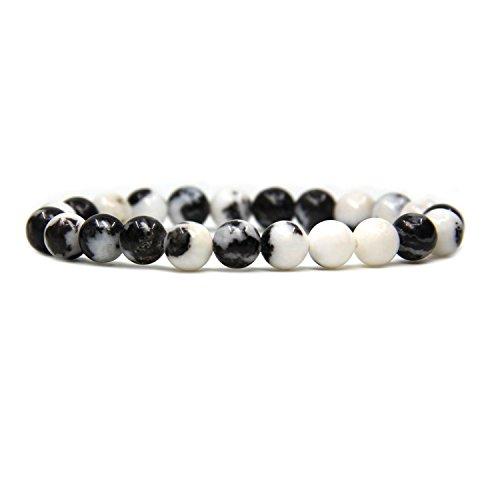 Bracelet Zebra Jasper - Natural Zebra Jasper Gemstone 8mm Round Beads Stretch Bracelet 7