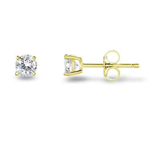 Gold Classic Prong - Yellow Gold Plated Sterling Silver Cubic Zirconia Classic Basket Prong Set Stud Earrings, (4mm)