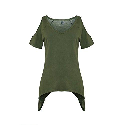 Woman T-Shirt V Neck Off Shoulder Basic Short Sleeve Top Tees (X-Large, Green)