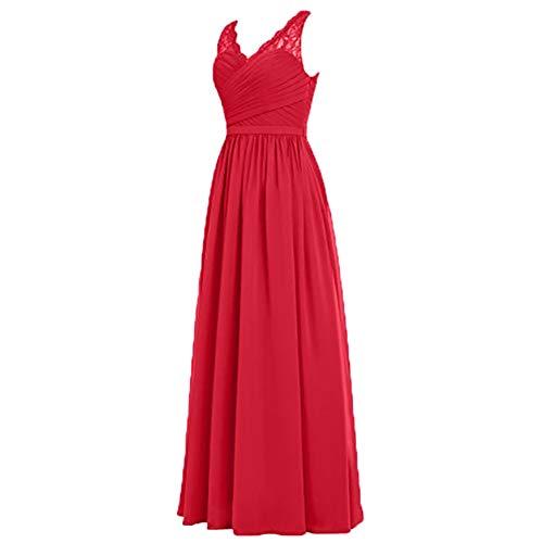 A Abendkleider Brautjungfernkleider Charmant Damen Spitze Rock Lang Chiffon Linie Ballkleider Rot Elegant HnOxU8xqwF