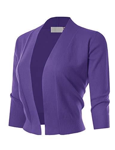 MAYSIX APPAREL 3/4 Sleeve Solid Open Bolero Cropped Cardigan for Women Ultraviolet M