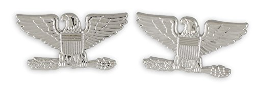 Police Fire EMS Army Collar Brass Pins Insignia Emblem Badges (Assorted Styles) (Colonel Eagle- Silver)