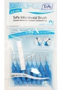 Tepe Interdental Brushes 0.6mm Blue - 5 Packets of 8 (40 Brushes)