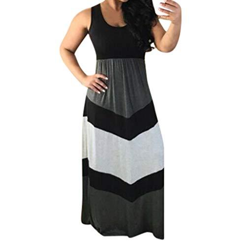 Mlide Womens Casual Sleeveless Tie Waist Maxi Dress Stripe Stitching Color Block High Waist Maxi Long Dress,Black 2XL
