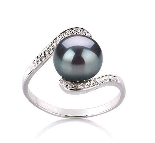 Chantel Black 9-10mm AA Quality Freshwater 925 Sterling Silver Cultured Pearl Ring For Women - Size-6
