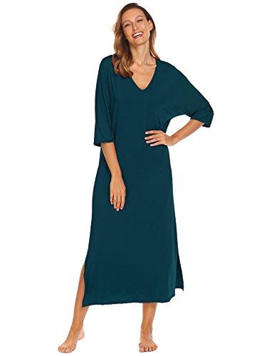 (Ekouaer Womens Half Sleeve Sleep Dress, Split Hem Solid Loose Nightgown,Champlain Color,Small)